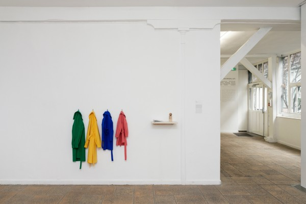 Exhibition view of « Akademia: Performing Life », Villa Vassilieff, Paris, 2018.  Ieva Epnere, Green School,  2017 (details) and a photograph from the Duncan Collection.  Courtesy: Ieva Epnere and Duncan Collection Image: Aurélien Mole